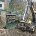 Construction d'une digue temporaire au barrage de Froté Montvert (38)