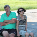 Hans mit Gattin am Landeplatz
