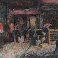 Wien *1902 - †1969 Wien Männer bei der Arbeit in einer Schmiede, 1955, BL 52 x 70 cm, Tempera (Mischtechnik) auf Papier