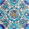 Orientalische Fayencen, keramische Wandfliese // Dekor: Houda Bleu 10x10 cm