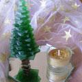 Tannenbaum mit Teelicht  h = 14 cm, Spiegel 12 cm