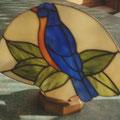 Fächerlampe blauer Vogel