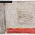 Malerei auf Holzrahmen, monochrom mit schwarzer und roter Fläche, 100 cm x 40 cm, Künstler Stephan Wolter