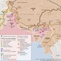 Atlas de l'Inde, éd. Autrement (2016). India borders conflicts map
