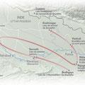 National Geographic / Sur les pas de Bouddha / On Buddha's footsteps, map