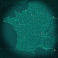 France, illustration non publiée dans le style jeu video. Map