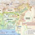Atlas de l'Inde, éd. Autrement (2016). North-East India map