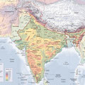 Atlas de l'Inde, éd. Autrement (2016). India's physical and admin. map