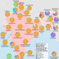 Atlas de l'Inde, éd. Autrement (2016). Religions in India's States, map.