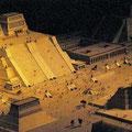Modell des Templo Mayor von Tenochtitlan