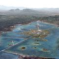 der See von Texcoco mit der Stadt Tenochtitlan, was heute Mexiko-Stadt ist, im Süden von diesem See war Cuicuilco