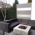 Sichtschutz Zaun aus WPC mit Alupfosten und lichtdurchlässigen PVC Elementen für eine Terrasse von GreenFairway e.K.