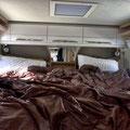 Groß und bequem, der Schlafbereich im Hymer