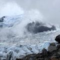 La Jonction, wo sich die Eismassen des Taconnaz und Bossons Gletschers treffen