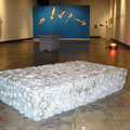 "Concrete sponge, 800lbs, approx. 2' x 4' x 12"", various drawings on wood and walls, Panic Button, 2005"