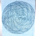 "30"" string spiral laid on inked plate - monotype"