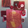 Install view of Red Power Pieces, handmade paper and monotype