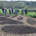Participation à la création de nouvelles buttes... qui ont pris la forme d'un épi de blé... Ferme du Bec Hellouin - Photo Anne Lavorel