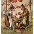 Heinz Geilfus Herz-Postkarte Nr. 3 -- Manche Frau das Herz beschwert, diese machen's umgekehrt!