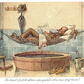 Heinz Geilfus Herz-Postkarte Nr. 12 -- So könnt's freilich schöner sein, gesünder ist's, man steigt hinein!