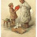 Heinz Geilfus Herz-Postkarte Nr. 11 -- Die Sache, glaub' ich, wird hier schnell erledigt, noch ist das arme Herz nicht sehr beschädigt!