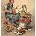 Heinz Geilfus Herz-Postkarte Nr. 1 -- Geh' zum Doktor, nicht zum Schuster, sonst mein Freund, steht's um dich duster.
