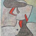 Willi Mörler  -  Gemälde Dame mit Hut