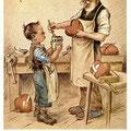 Heinz Geilfus Herz-Postkarte Nr. 7 -- Laß die Sorgen, was gewesen, gut geleimt, ist halb genesen!