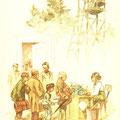 Heinz Geilfus-Der Chef ist auf einer wichtigen Sitzung_Druckgrafik Archiv Beatrix van Ooyen