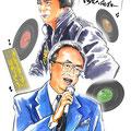 弦哲也 水彩画 人物 日本 歌謡曲 歌手 作曲家 昭和 新聞挿絵 スター