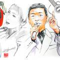 水彩画 人物 日本 歌謡曲 歌手 作曲家 昭和 新聞挿絵 スター