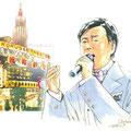 水彩画 人物 日本 歌謡曲 歌手 作曲家 昭和 新聞挿絵 スター 『森進一:浅草』