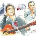 水彩画 人物 日本 歌謡曲 歌手 作曲家 昭和 新聞挿絵 スター 南こうせつ 『神田川』