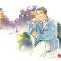 水彩画 人物 日本 歌謡曲 歌手 作曲家 昭和 新聞挿絵 スター フランク永井  有楽町で逢いましょう