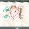 水彩画 人物 女性