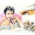 水彩画 人物 日本 歌謡曲 歌手 作曲家 昭和 新聞挿絵 スター 宮城まり子  ガード下の靴みがき 靴みがきの少年