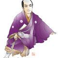 歌舞伎 イラスト 挿絵 役者絵 絵  リアル 伝統芸能 日本 和風 大石内蔵助 大星由良助 仮名手本忠臣蔵