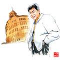 銀座の恋の物語  石原裕次郎 水彩画 人物 日本 歌謡曲 歌手 作曲家 昭和 新聞挿絵 スター