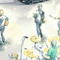 水彩画 人物 ロック 音楽
