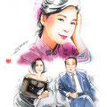 水彩画 人物 日本 歌謡曲 歌手 作曲家 昭和 新聞挿絵 スター テレサテン