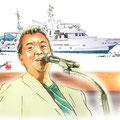 水彩画 人物 日本 歌謡曲 歌手 作曲家 昭和 新聞挿絵 スター 加山雄三