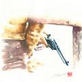 水彩画 人物 西部劇 ウエスタン 銃
