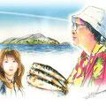 水彩画 人物 日本 歌謡曲 歌手 作曲家 昭和 新聞挿絵 スター  星野哲郎:情島』