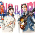 水彩画 人物 日本 歌謡曲 歌手 作曲家 昭和 新聞挿絵 スター  和泉雅子