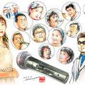 水彩画 人物 日本 歌謡曲 歌手 作曲家 昭和 新聞挿絵 スター  マイク 最後