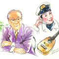水彩画 人物 日本 歌謡曲 歌手 作曲家 昭和 新聞挿絵 スター 石本 美由起 美空ひばり