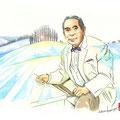 水彩画 人物 日本 歌謡曲 歌手 作曲家 昭和 新聞挿絵 スター 吉田正 異国の丘 シベリヤの丘