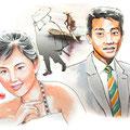 水彩画 人物 日本 歌謡曲 歌手 作曲家 昭和 新聞挿絵 スター  橋幸夫 吉永小百合