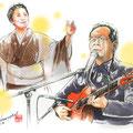 弦哲也。下 弦哲也 水彩画 人物 日本 歌謡曲 歌手 作曲家 昭和 新聞挿絵 スター