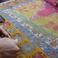 Riparazione tappeto pregiato trieste, tappeto turco antico consumato tutte le parte che anno usato colore nero